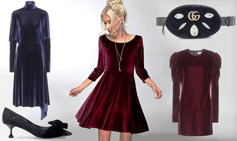Μπλε βελούδινο φόρεμα, Vetements // Βελούδινα γοβάκια, Miu Miu // Αν δεν είστε ψηλή, προτιμήστε ένα μίνι ή μίντι βελούδινο φόρεμα // Τσάντα, Gucci // Μίνι φόρεμα, Saint Laurent