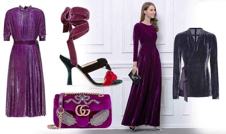 Μάξι φόρεμα από λαμπερό βελούδο, Prada // Εντυπωσιακό πέδιλο από βελούδο, Attico // Τσάντα, Gucci // Οι μοβ αποχρώσεις ταιριάζουν υπέροχα με ασημί λεπτομέρειες και φυσικά? τα διαμάντια σας! // Βελούδινο μοβ σακάκι, Rick Owens