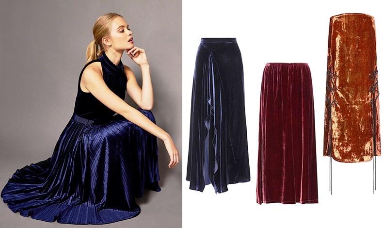 Αν είστε ψηλή, μπορείτε κάλλιστα να υποστηρίξετε τα πιο φαρδιά παντελόνια σε βελούδο και τις μάξι φούστες // Μπλε φούστα, Roland Mouret // Σε μπορντό, MCQ Alexander McQueen // Στην απόχρωση του χαλκού, Prada