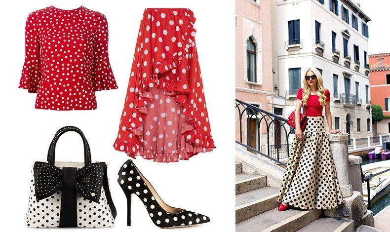 Κόκκινο με λευκά πουά, Dolce&Gabbana // Μακριά, ασύμμετρη φούστα, Caroline Constas // Tσάντα με φιόγκο, Betsy Johnson // Γόβα με ασπρόμαυρα πουά, Oscar de la Renta // Κόκκινο με ασπρόμαυρα πουά, η κομψότητα στο ζενίθ!