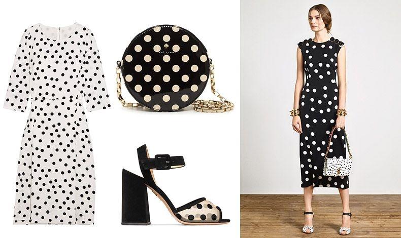 Φόρεμα, Dolce& Gabbana // Στρογγυλό τσαντάκι, Kate Spade // Πέδιλο με διάφανα πουά και τετράγωνο τακούνι, Charlotte Olympia // Κλασικά ασπρόμαυρα πουά σε όλο το σύνολο