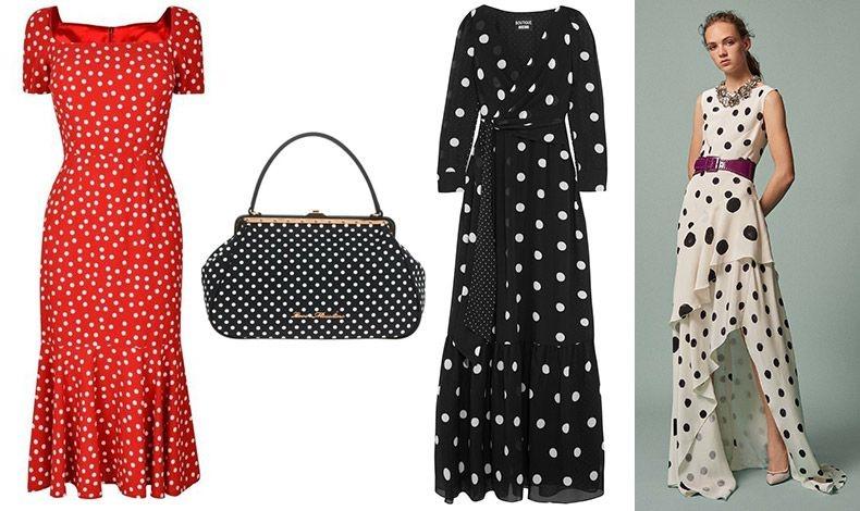 Η ιταλική «φλογερή» κομψότητα στο φόρεμα, Dolce&Gabbana // Τσάντα με νοσταλγικό σχέδιο, Love Moschino // Μακρύ φόρεμα με μεγάλα πουά, Moschino // Μοντέρνα εκδοχή των πουά και τελική πινελιά η μοβ ζώνη