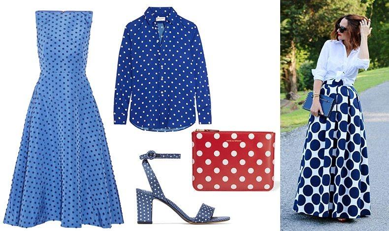 Στράπλες γαλάζιο φόρεμα με μπλε πουά, Lela Rose // Πουκάμισο, Saint Laurent // Τσαντάκι-πορτοφόλι, Comme des Garc?ons // Γαλάζιο πέδιλο με λευκά πουά, Tabitha Simmons // Φορέστε μία μακριά φούστα με πουά και λευκό πουκάμισο