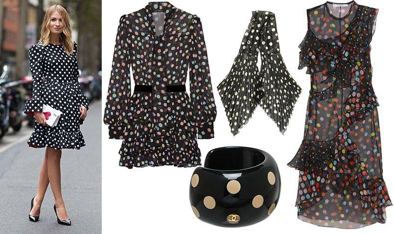 Κλασική κομψότητα σε άσπρο-μαύρο, τη διαφορά κάνει το ιδιαίτερο τσαντάκι! // Μαύρη διαφάνεια με πολύχρωμα πουά, Marc Jacobs // Mεταξωτό φουλάρι, Chanel // Βραχιόλι-περικάρπιο με μπεζ πουά, Chanel // Διάφανο φόρεμα με χρωματιστά πουά, Givenchy