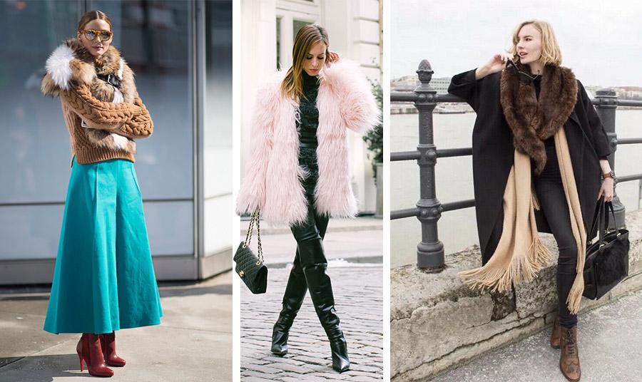 Φορέστε τη συνθετική γούνα σας από το πρωί έως το βράδυ! Πάνω από μία πλεκτή ζακέτα ως γιακάς, αλλά υπέροχα συνδυασμένη με χρώμα // Ταιριάξτε μία ροζ γούνα με μαύρα και το δερμάτινο παντελόνι // Φορέστε έναν γούνινο γιακά με μακρύ κασκόλ και το παλτό σας
