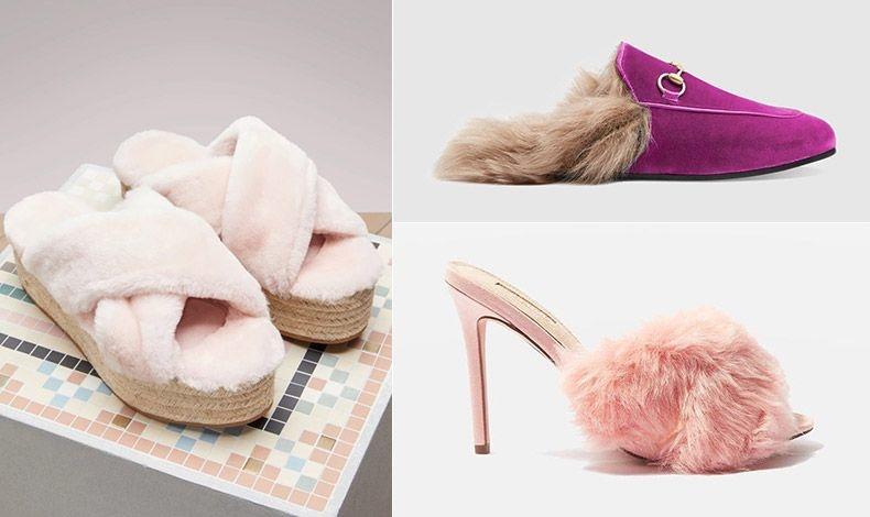 Σαν άνετες, χνουδωτές παντόφλες σε ροζ χρώμα, Miu Miu // Φλατ με γούνινη επένδυση και καστόρι, Gucci  // Σέξι τακούνι στιλέτο, Τοpshop