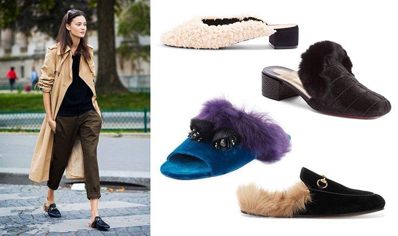 Ήδη τα γούνινα mules και κυρίως το σχέδιο του Gucci έχει κάνει έντονα την εμφάνισή του στους δρόμους // Σε λευκό μουτόν, Τοpshop // Με μαύρη γούνα, Christian Louboutin // Συνδυασμός πετρόλ καστόρι με μοβ γούνα, Prada // Φλατ, Gucci