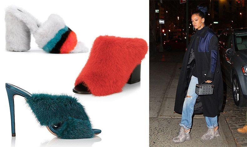 Όλο από γούνα, Marco de Vincenzo // Από κόκκινη γούνα, Givenchy // Με ψηλό τακούνι και πετρόλ χρώμα, Aquazzura // Η Rihanna λατρεύει τα εκκεντρικά παπούτσια, όπως τα γούνινα από τον οίκο Maison Margiela