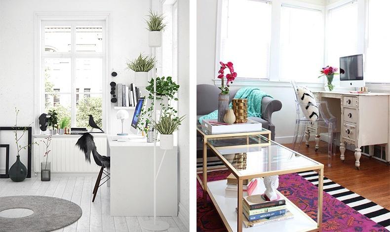 Καλύψτε τα καλώδια, βάλτε φυτά και λουλούδια και τακτοποιήστε τα χαρτιά σε συρτάρια για να «προστατέψετε» την αισθητική και την ηρεμία του σαλονιού σας