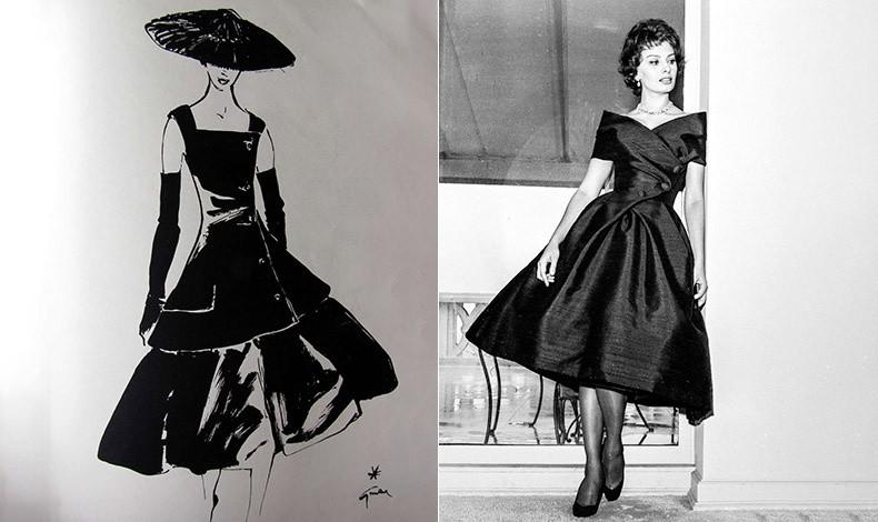 Σκίτσο του φορέματος από την ανοιξιάτικη κολεξιόν 1955 του Dior // Η Σοφία Λόρεν φορώντας τη δημιουργία του μετρ Christian Dior