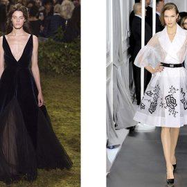 """Η """"γραμμή Α"""" χαρίζει μια δόση κομψότητας και στιλ σε κάθε γυναίκα. Βραδινό μακρύ φόρεμα από τη συλλογή άνοιξη –καλοκαίρι 2017, Dior // Διαφάνεια σε λευκό με μαύρα prints, άνοιξη-καλοκαίρι 2016, Dior"""