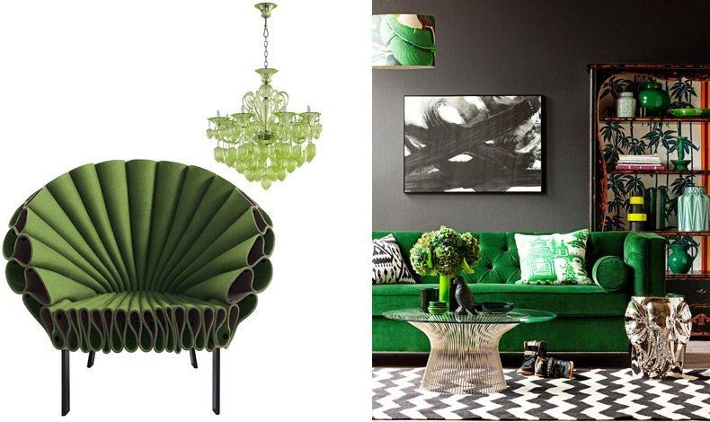 Πολυθρόνα Peacock, Dror Bershetrit // Πολυέλαιος, Bella Vetro // Δύο τάσεις σε μία, βελούδινος καναπές σε πράσινο χρώμα που κυριαρχεί στον χώρο
