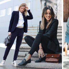 Τα γυναικεία κοστούμια είναι μια ιδανική επιλογή για το γραφείο. Είναι κομψά, στιλάτα και προσδίδουν κύρος στην εμφάνιση μας. Συνδυάστε ένα πουκάμισο ή ένα ζιβάγκο, μία θηλυκή μπλούζα και ανάλογα με το dress code επιλέξτε ψηλοτάκουνα ή με μεσαίο τακούνι παπούτσια ή πάλι με φλατ ή και sneakers