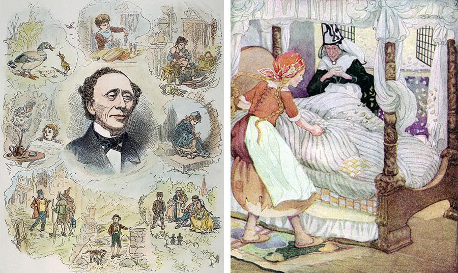 Παλιά αφίσα του παραμυθά με εικονογραφήσεις από τα υπέροχα παραμύθια του // Vintage εικονογράφηση για το παραμύθι «Η Βασιλοπούλα και το ρεβίθι»