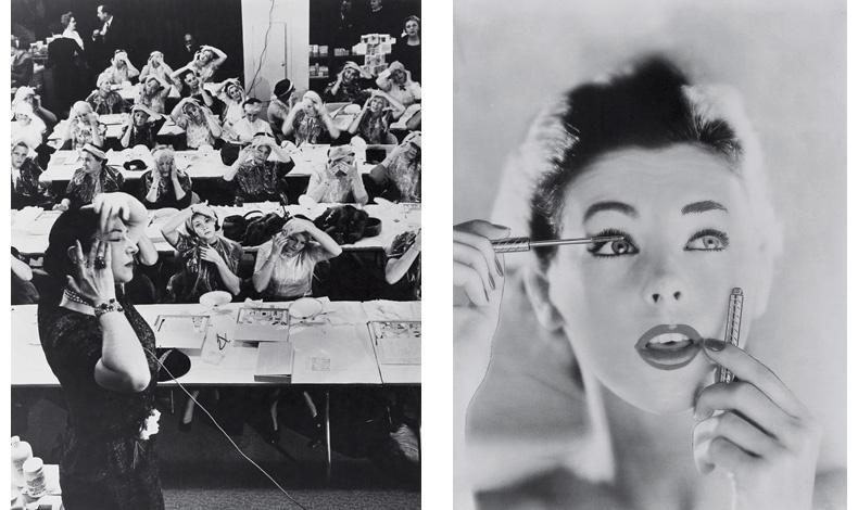 Μαθήματα αισθητικής, που είχε επινοήσει η Helena Rubinstein, αρχές του '40 // Από διαφήμιση του 1957 για τη μάσκαρα ακριβείας