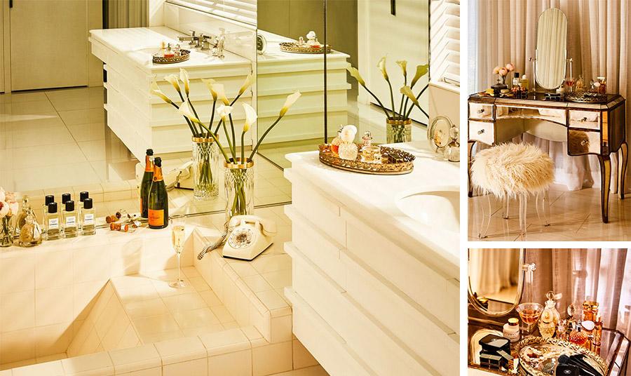 Κρυστάλλινα διακοσμητικά, κρεμ-λευκές αποχρώσεις και vintage στοιχεία δημιουργούν αίσθηση πολυτέλειας στο μπάνιο // Vintage τουαλέτα, σκαμπό ντυμένο από βελούδο ή γούνα και ένα δίσκος με τα υπέροχα αρώματά μας δίνουν τον τόνο της πολυτέλειας στην κρεβατοκάμαρα