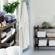 Αν έχετε χώρο, ένα ξύλινο έπιπλο που πάνω θα τοποθετήσετε τις πετσέτες σας είναι μία ρουστίκ και κομψή λύση