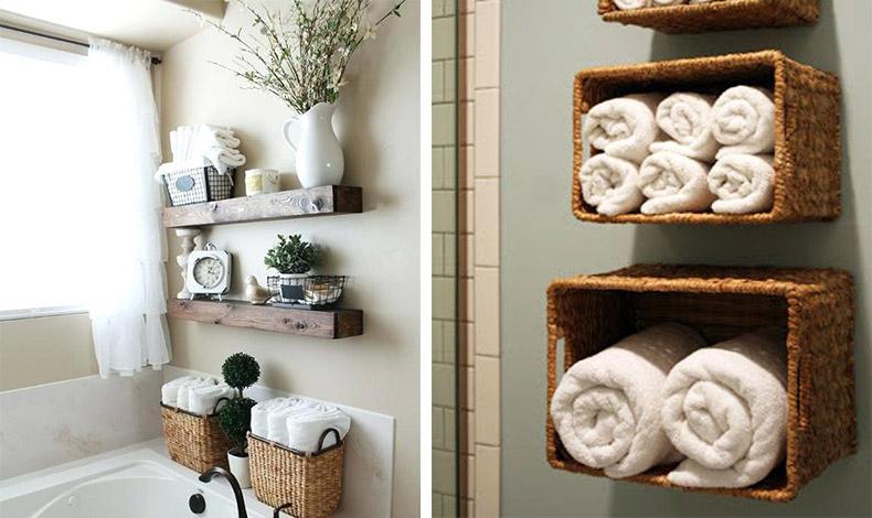 Τα ψάθινα καλάθια δημιουργούν χώρο αποθήκευσης αλλά και στιλ! // Κρεμάστε διαφορετικού μεγέθους καλάθια σαν ράφια στον τοίχο και βάλτε τις πετσέτες σας διπλωμένες σε ρολά