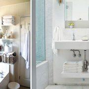 Σε ένα μπάνιο με έλλειψη χώρου, εκμεταλλευθείτε τον χώρο πάνω από την μπανιέρα για να βάλετε ράφια ή κάντε το ίδιο κάτω από τον νιπτήρα
