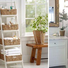 Οι σκαλιέρες είτε από ξύλο είτε από σίδερο είναι πρακτικές και όμορφες. Ανάλογα με το στιλ του μπάνιου σας τοποθετήστε επάνω καλάθια από ψάθα ή μεταλλικό πλέγμα για τις πετσέτες και τα μπουκαλάκια σας