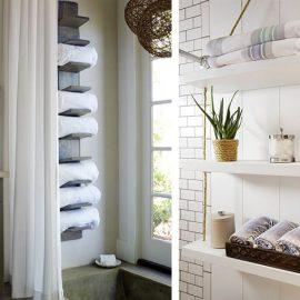 Κάντε μία ειδική κατασκευή από μικρά ράφια ξύλου που «γεμίζουν» τον χώρο πάνω από την μπανιέρα ή μία κατασκευή από ξύλινα ράφια δεμένα με σκοινί. Ο συνδυασμός της πρακτικότητας με την αισθητική!