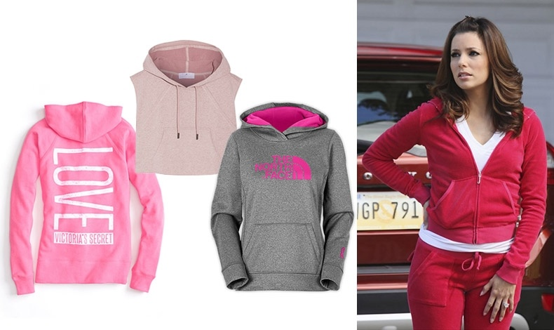 Για την καθημερινή σας γκαρνταρόμπα! Σε έντονο ροζ χρώμα, Victoria's Secret // Σε απαλό ροζ, Adidas by Stella McCartney // Γκρι με ροζ, The North Face // Η Εύα Λονγκόρια με Juicy Couture