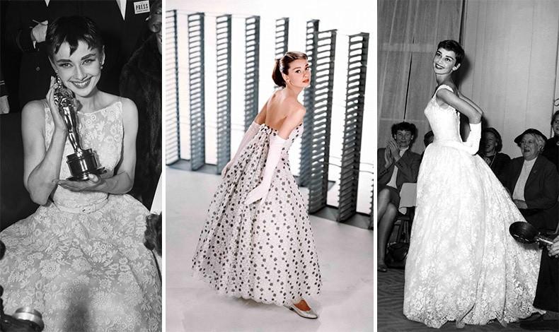 """Η Όντρεϊ Χέπμπορν με δημιουργίες Givenchy στα Όσκαρ του 1954 // Φόρεμα για την ταινία """"Έξυπνο Μουτράκι"""" του 1957 // Η ηθοποιός είχε δηλώσει: «Δεν πρόκειται απλώς για έναν δημιουργό μόδας, αλλά για έναν δημιουργό προσωπικότητας»"""