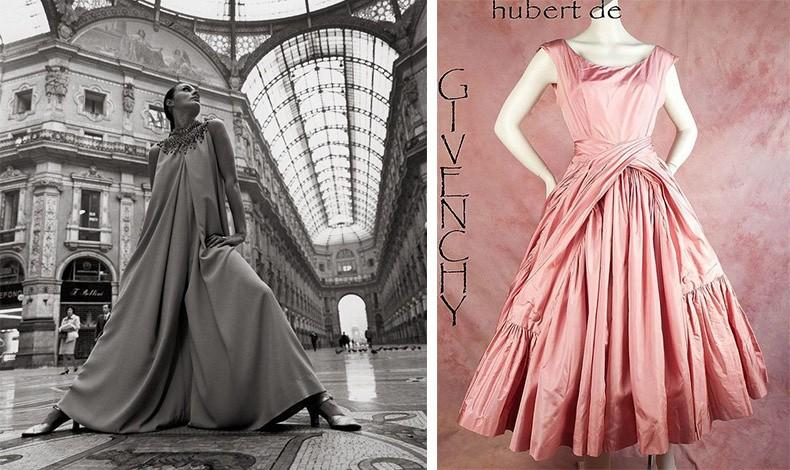 Το μοντέλο Katharina Sarnitz με μία εντυπωσιακή δημιουργία Givenchy στο Μιλάνο το 1969 // Φόρεμα του 1950