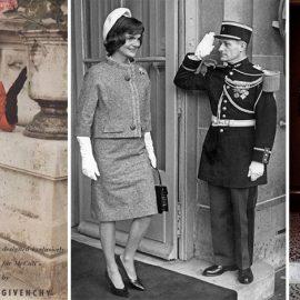 Το μοντέλο Jackie Mazel με δημιουργία Givenchy φωτογραφημένη στο Παρίσι το 1957 // Η Τζάκι Κέννεντι ήταν μία φανατική θαυμάστριά του, όπως εδώ κατά την επίσκεψή της στο Παρίσι το 1961 // Η ηθοποιός Doris Day με δημιουργία του το 1960