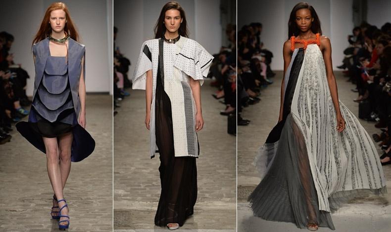 Κομμάτια από την πρώτη κολεξιόν του Hussein Chalayan για τη σειρά demi-couture του οίκου Vionnet, άνοιξη/καλοκαίρι 2014