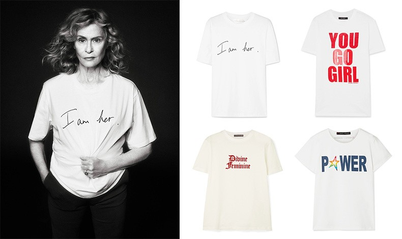 """Η Λωρήν Χάτον για την καμπάνια // Με την υπογραφή της Victoria Beckham, το T-shirt με το χειρόγραφο """"Iam her"""" // Η Alexa Chung υπογράφει το """"Divine Feminine"""", σε κόκκινο βελούδο! // Η Isabel Marant με το σλόγκαν """"You Go Girl"""" // Η Perfect Moment επιλέγει το """"POWER"""