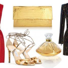 Μήλο: Wrap φορέματα και στιλ που τονίζουν τη μέση δημιουργούν μια αισθησιακή σιλουέτα // Κόκκινο αμάνικο φόρεμα, Victoria Beckham // Clutch, Nancy Gonzalez // Eau de Parfum Living Lalique // Πέδιλα, Jimmy Choo // Μαύρο φόρεμα, Βalmain