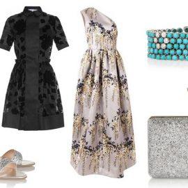 Τρίγωνο: Δημιουργήστε την ψευδαίσθηση τονισμένων ώμων και επιλέξτε πλούσιες φούστες που θα κρύψουν την περιφέρεια // Peep toes, Miu Miu // Μαύρο φόρεμα, Carven // Φόρεμα με έναν ώμο, Rochas // Μπρασελέ με τιρκουάζ και μπριγιάν, Fred Leighton // Clutch, Tom Ford