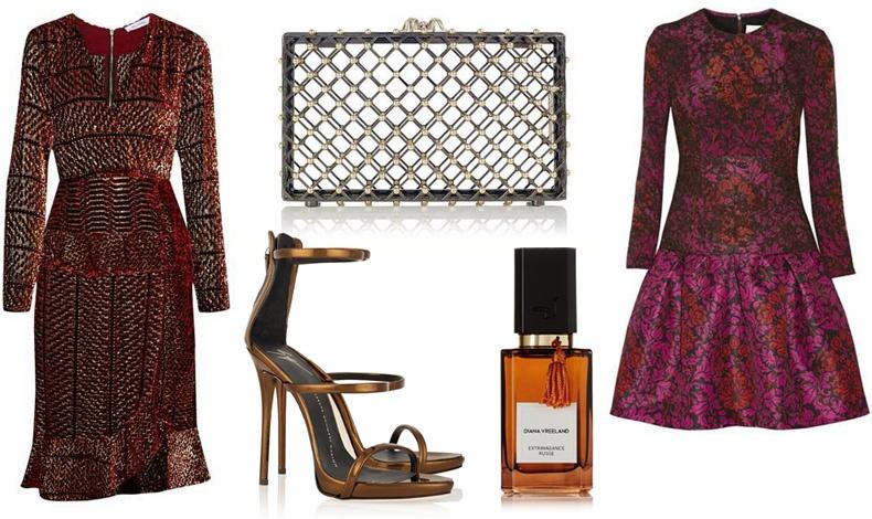 Ανάποδο τρίγωνο: Η πλούσια φούστα και η στενή μέση δημιουργούν όγκο και στο κάτω μέρος του σώματος // Φόρεμα, Αltuzarra // Clutch, Charlotte Olympia // Πέδιλα, Giuseppe Zanotti // Eau de parfum «Extravagance Russe», Diana Vreeland Parfums // Φόρεμα, Mary Katrantzou