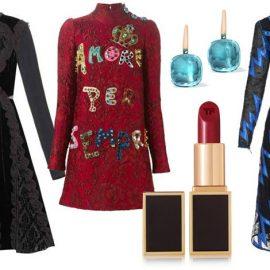 Μακριά μανίκια: Η απόλυτη τάση του χειμώνα! Αν τα επιλέξετε, προτιμήστε να δώσετε έμφαση στο πρόσωπο με εντυπωσιακά σκουλαρίκια ή ένα έντονο κραγιόν // Μαύρο βελούδινο φόρεμα, Givenchy // Μπορντό φόρεμα με κέντημα, Dolce & Gabbana // Σκουλαρίκια, Pomellato // Κραγιόν Lips & Boys «Tony 72», Tom Ford Beauty // Φόρεμα με μπλε print, Christopher Kane