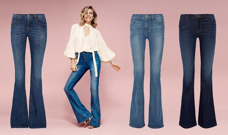Καμπύλες: Victoria Beckham Denim // Μπορεί η Sienna Miller να μην έχει πολλές καμπύλες, αλλά διαφημίζει τέλεια το τζιν καμπάνα της εταιρείας Lindex // Ανοιχτό γκρι, Frame Denim // Στενό, J Brand