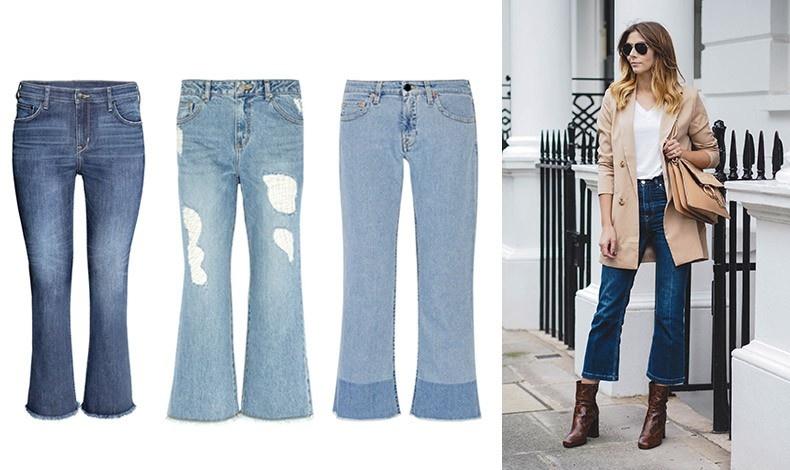 Ψηλόλιγνη: Με ξεφτισμένο τελείωμα, H&M // Με «μπαλώματα», // Steve J & Yoni P //  Με διχρωμία στο τελείωμα, Victoria, Victoria Beckham // Ποιος είπε ότι τα κοντά τζιν σε στιλ καμπάνα δεν είναι κομψά. Η φωτογραφία είναι από το site ejstyle.co.uk