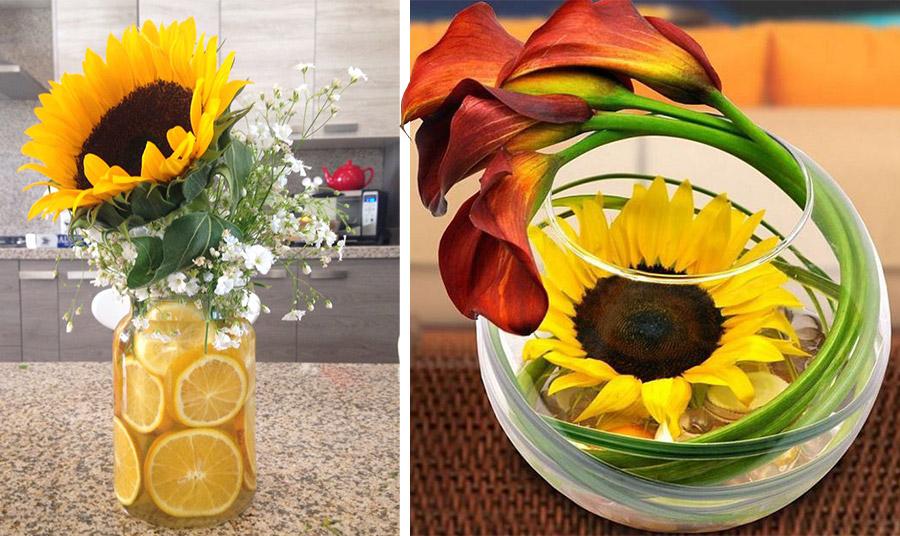 Δημιουργήστε ένα υπέροχο βάζο με ηλίανθους και μέσα στο νερό ροδέλες λεμονιού σε διάφορες συνθέσεις ή χρησιμοποιήστε έναν μεγάλο ηλίανθο μέσα στο νερό