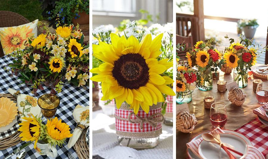 Αrt de la table με αέρα εξοχής! Ηλιοτρόπια, καρό τραπεζομάντιλα και κεράκια και απολαύστε το καλοκαιρινό σας δείπνο ή γεύμα με χρώμα και στιλ