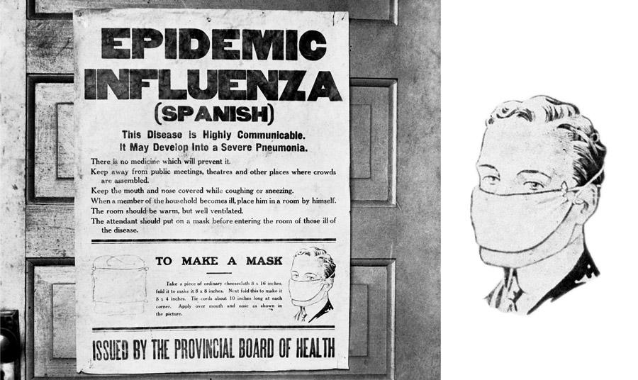 Δημόσια ανάρτηση του 1918 με οδηγίες κατά της επιδημίας γρίπης και πώς να φτιάξει κανείς τη δική του μάσκα. Τι λέει; Τα ίδια με σήμερα! «Δεν υπάρχει φάρμακο. Αποφεύγετε τις συγκεντρώσεις. Καλύψτε τη μύτη και το στόμα σας όταν βήχετε. Αν κάποιος αρρωστήσει στο σπίτι, απομονώστε τον, αερίστε το δωμάτιο και  όποιος μπαίνει στο δωμάτιό του να φορά μάσκα».