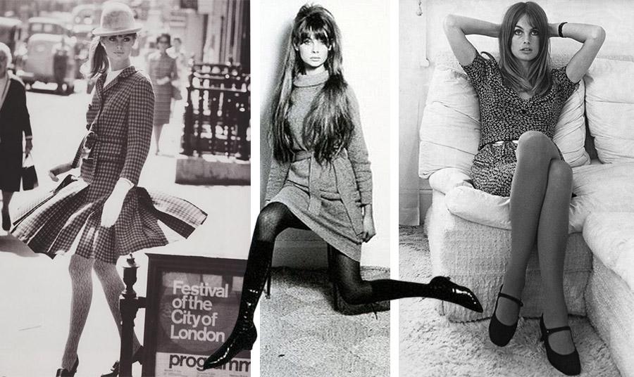 Η Τζιν Σρίμπτον, ένα ακόμη  μοντέλο της δεκαετίας του '60 φωτογραφίζοταν με μίνι και καλσόν και το νεανικό κοινό ξεχύθηκε στα καταστήματα για να αγοράσει τα δικά του ζευγάρια…