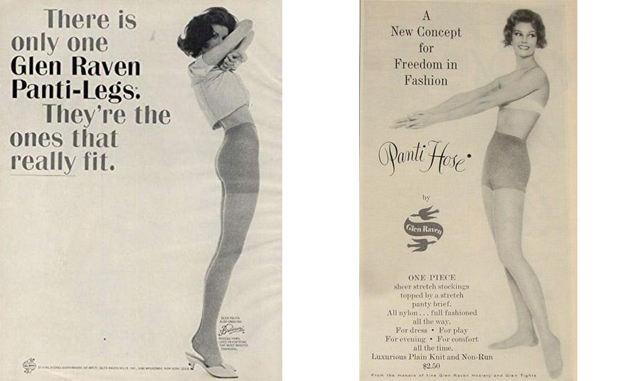 Διαφημίσεις από το πρώτο καλσόν που Allen E. Gant το 1959. Τα αυθεντικά «Panti-legs» είναι τα μόνα που πραγματικά εφαρμόζουν, ισχυρίζεται η πρώτη διαφήμιση, ενώ στη δεύτερη τονίζεται πως είναι η νέα άποψη για την ελευθερία στη μόδα