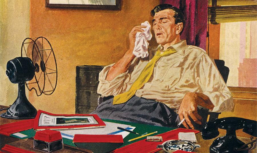 Διαφήμιση των κλιματιστικών Carrier για κλιματισμό στο γραφείο κατά τη δεκαετία του ΄50