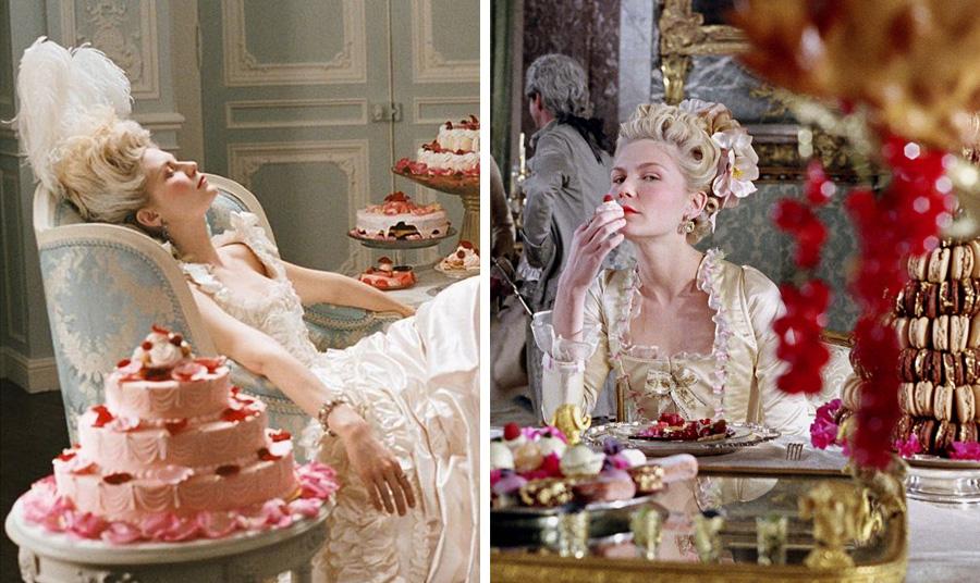 Σκηνές από την ταινία «Μαρία Αντουανέτα» που φαίνεται να έδωσε παγκόσμια ώθηση στη διάδοση του γαλλικού μακαρόν σε όλον τον κόσμο. Τα λαχταριστά γλυκά της ταινίας είναι από το Ladurée