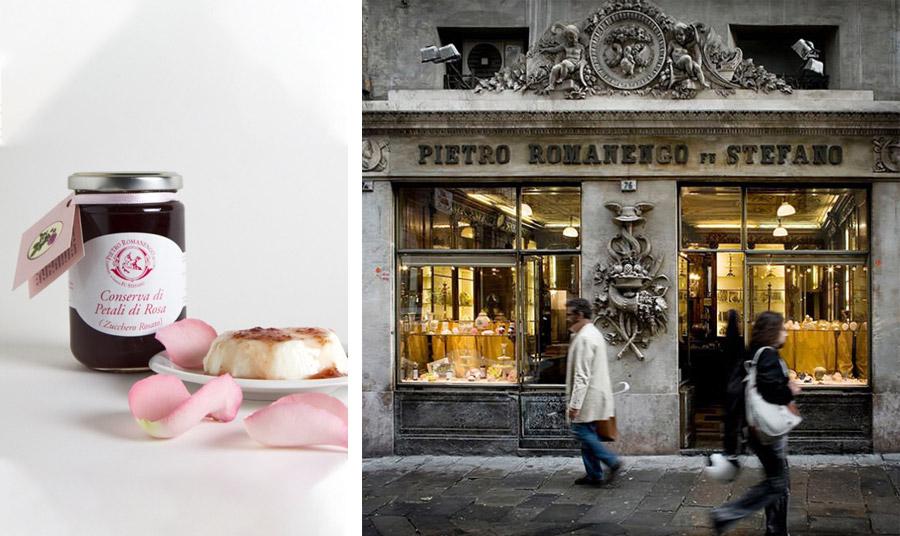 Τα ροδοπέταλα από τα οποία θα παρασκευαστεί το υπέροχο σιρόπι και η κονσέρβα τριαντάφυλλο Pietro Romanengo fu Stefano, διαλέγονται από το προσωπικό με το χέρι από τον Μάιο έως τον Ιούνιο // Παλιά γοητεία και αυθεντικές συνταγές στο Pietro Romanengo fu Stefano, στη Γένοβα