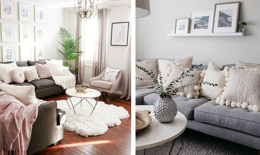 Μία αίσθηση κομψότητας: Ιβουάρ τοίχοι, κουρτίνες και μαξιλαράκια που συνδυάζονται μοναδικά με έναν καναπέ σε γκρι απόχρωση και πινελιές παστέλ ροζ // Σε τόνους του λευκού που ταιριάζουν θαυμάσια με τόνους του γκρι-γαλάζιου για ανάλαφρο αποτέλεσμα
