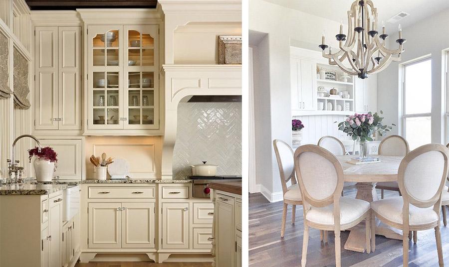 Μία κουζίνα σε ιβουάρ αποπνέει μία αίσθηση γαλλικής κομψότητας // Ανοιχτόχρωμα ξύλινα έπιπλα και ιβουάρ τοίχοι και στόφες για μία υπέροχη τραπεζαρία που δεν θα σας κουράσει… ποτέ!