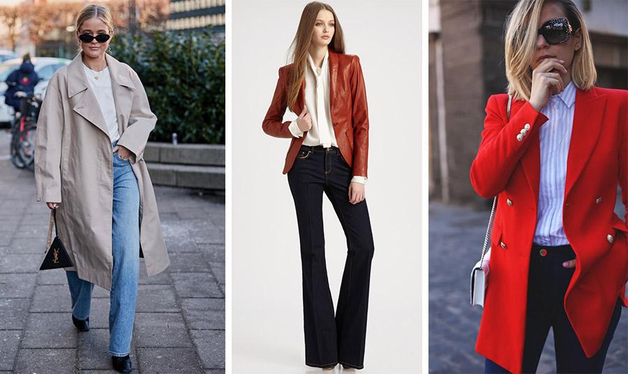 Τζιν με μία απλή μπλούζα και την κλασική γκαμπαρντίνα // Ένα σκούρο τζιν με ένα ωραίο πουκάμισο με δέσιμο και ένα δερμάτινο κλασικό σακάκι αλλά με χρώμα // Με ένα ριγέ πουκάμισο με κόκκινο μπλέιζερ