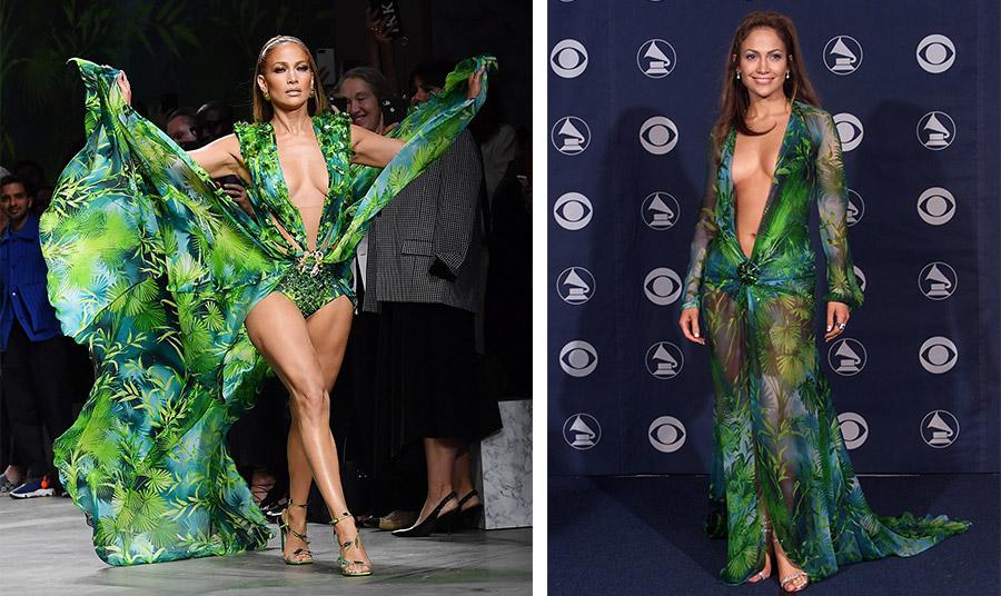 Η Τζένιφερ Λόπεζ με το θρυλικό φόρεμα «jungle» στην επίδειξη Versace