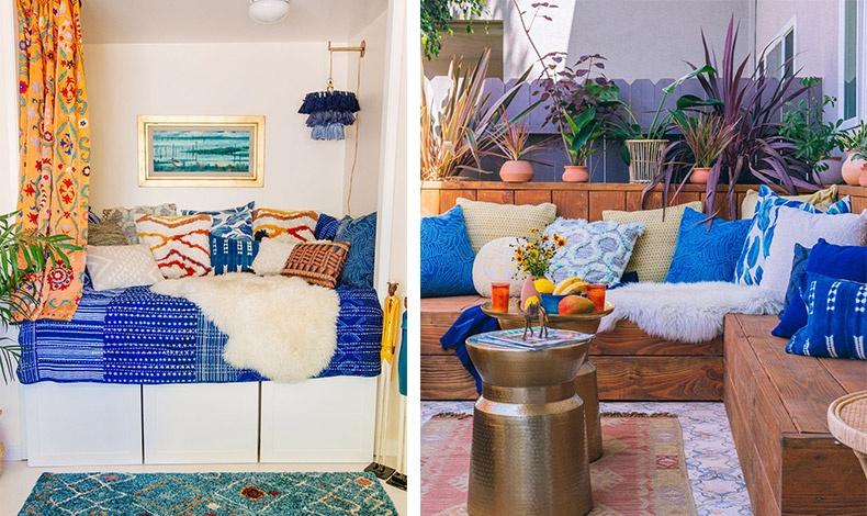 Μία μεγάλη εσοχή προσφέρεται για να δημιουργήσετε ένα χτιστό καναπέ για να ονειροπολείτε! Μαξιλάρες και ριχτάρια για χαλάρωση! // Μετατρέψτε μία βεράντα σε δωμάτιο με ξύλινα έπιπλα, φυτά και κιλίμια